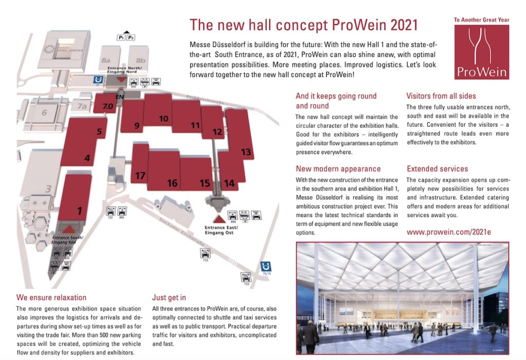 Plano del sitio de la ampliación de servicios y pabellones para la edición 2021 de ProWein