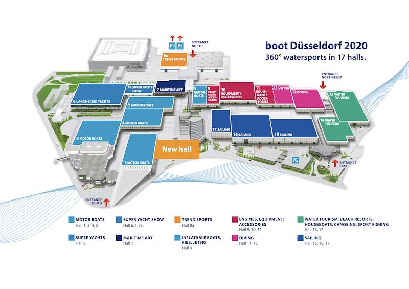 boot Düsseldorf 2020 nuevo plano de pabellones.